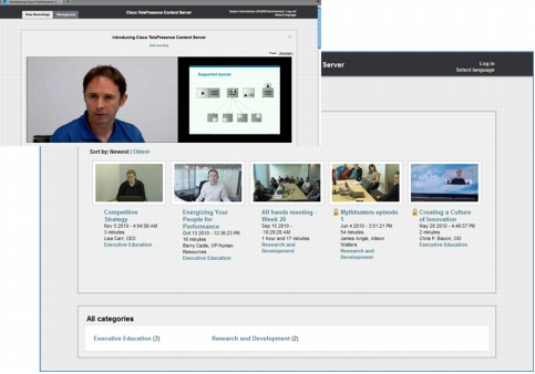 Cisco TelePresence Content Server Screenshot